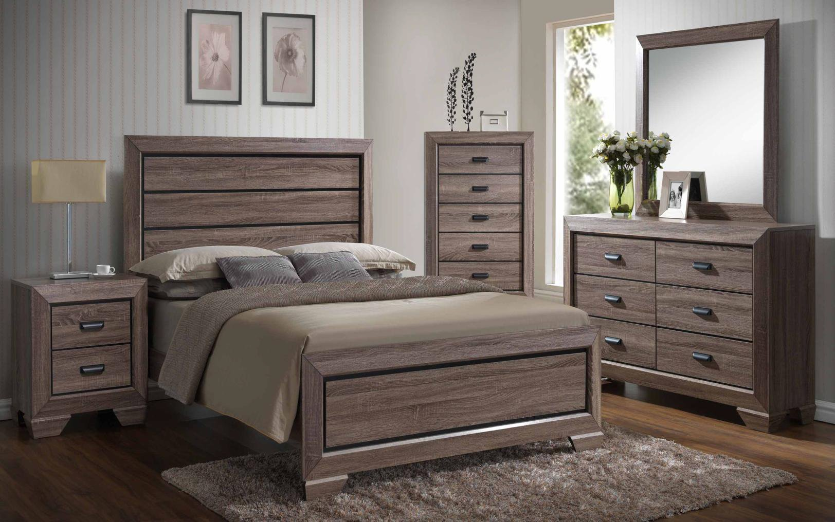 Kings Brand Black/Brown Wood Modern King Size Bedroom Furniture Set, Bed, Dresser, Mirror, Chest & 2 Night Stands
