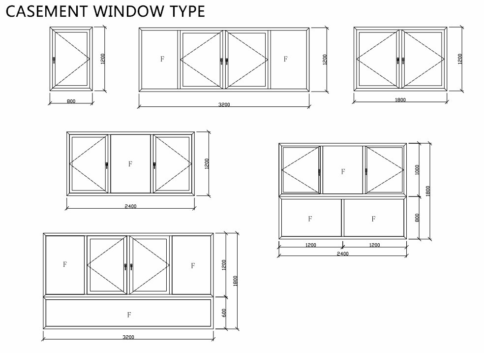 France Style Aluminum Extrusion House Window Plans For