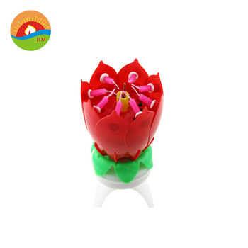 Lotus Flower Music Fireworks Birthday Cake Candle With High Quality
