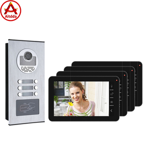 9 inch Record Wired Wifi 4 Apartments Video Door Phone Intercom System 1000TVL Camera Doorbell Camera, Monitor Waterproof
