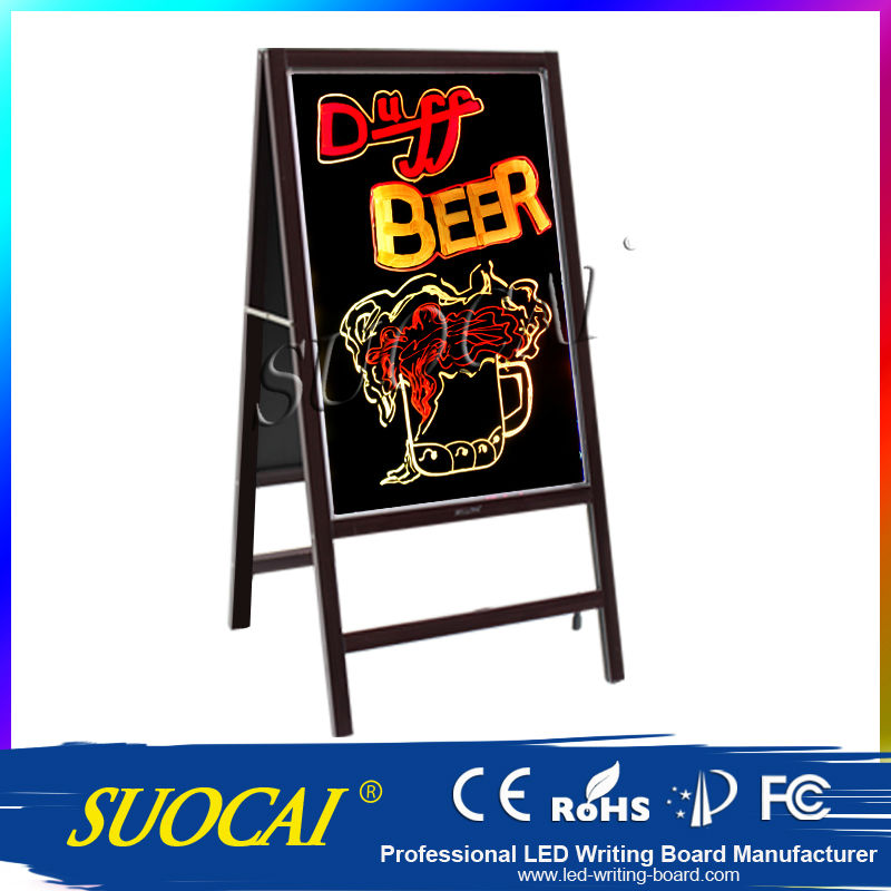 Flashing Multi Color Sign Board A Frame Double Sided Sidewalk Restaurant Pavement Menu Marker Board