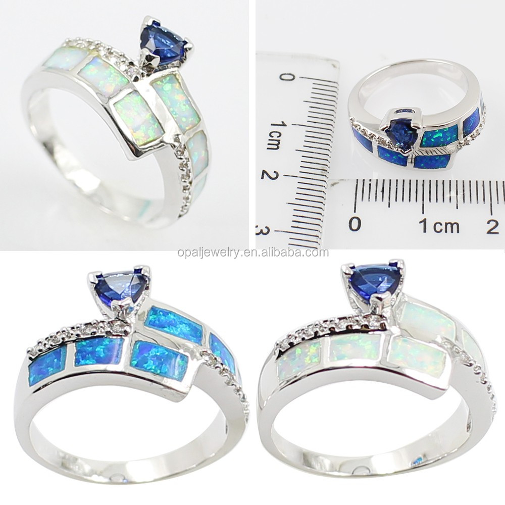 2016 blue semi precious stone diamond wedding ring, gold jewelry, opal ring