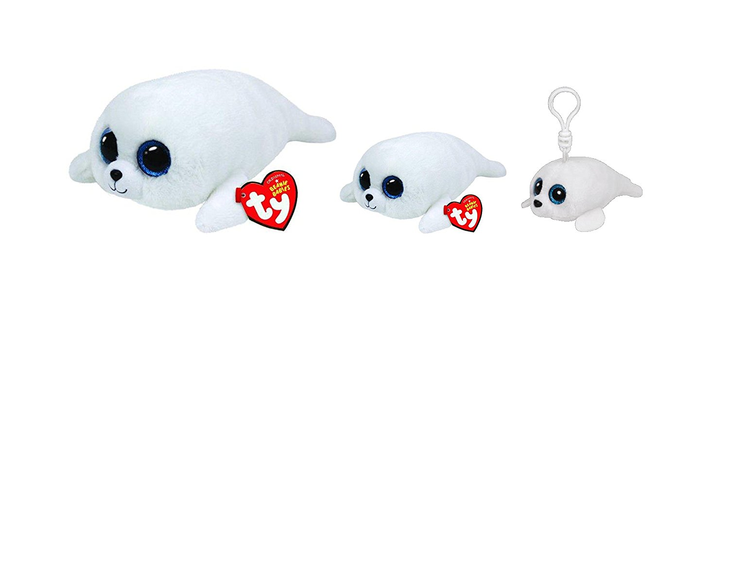 TY Beanie Boos New Set of 3 Icy Baby White Seal Plush Toys. Includes Clip a17002ff313