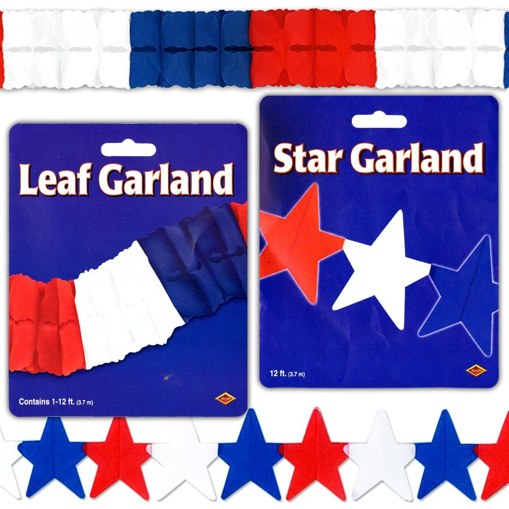 Red White and Blue Garland Party Decorations Pack -- Patriotic Garland, Stars and Leaf (24 Ft) (4th of July Party Decorations) (Red White Blue)