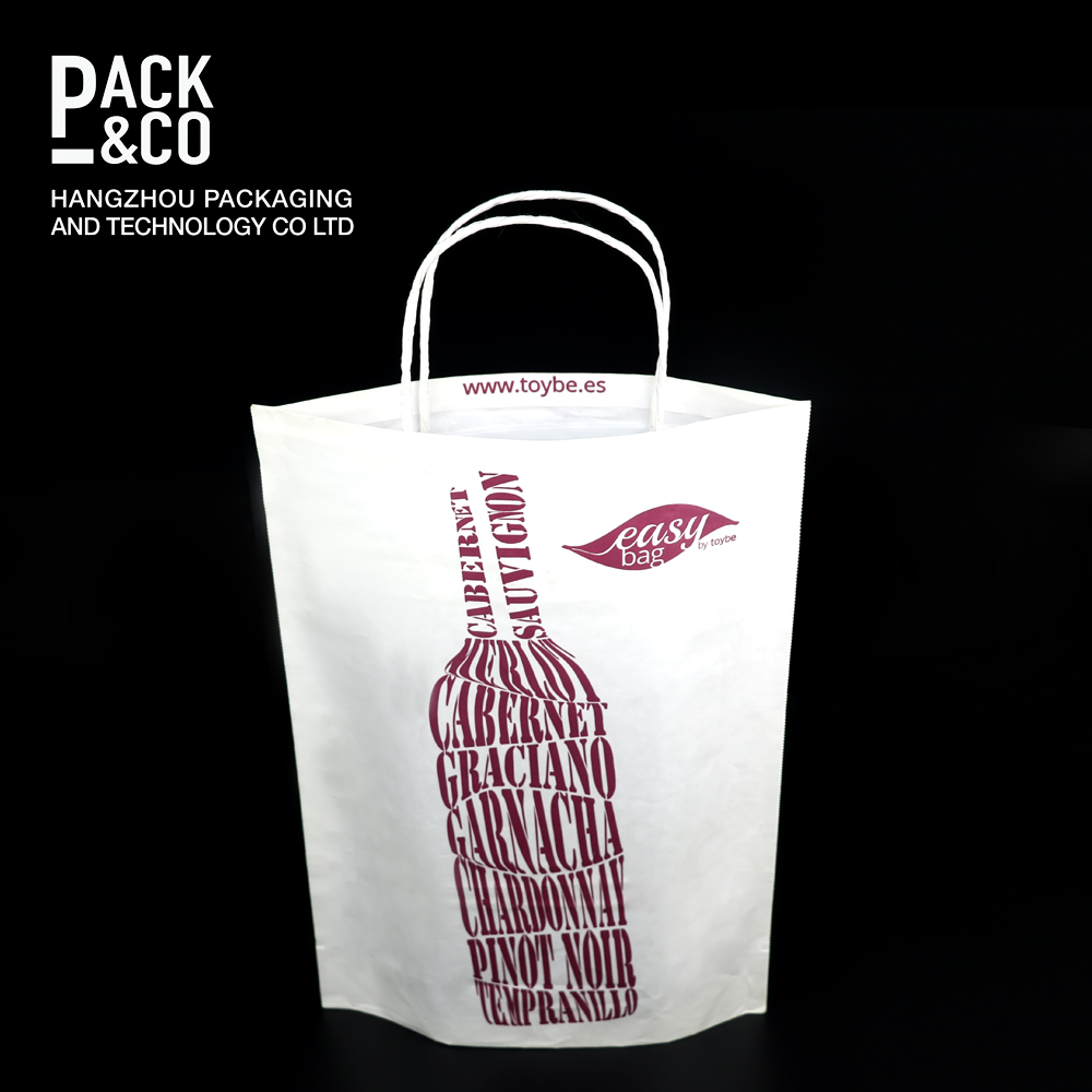 China supplier 2017 newest custom shape shopping elegant wine paper bag by low price