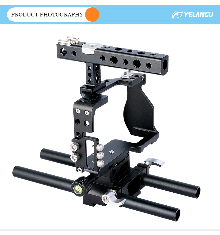 YELANGU CNC Aluminum Hot Shoe Mounting DSLR Video Camera Cage For A6000,A6300