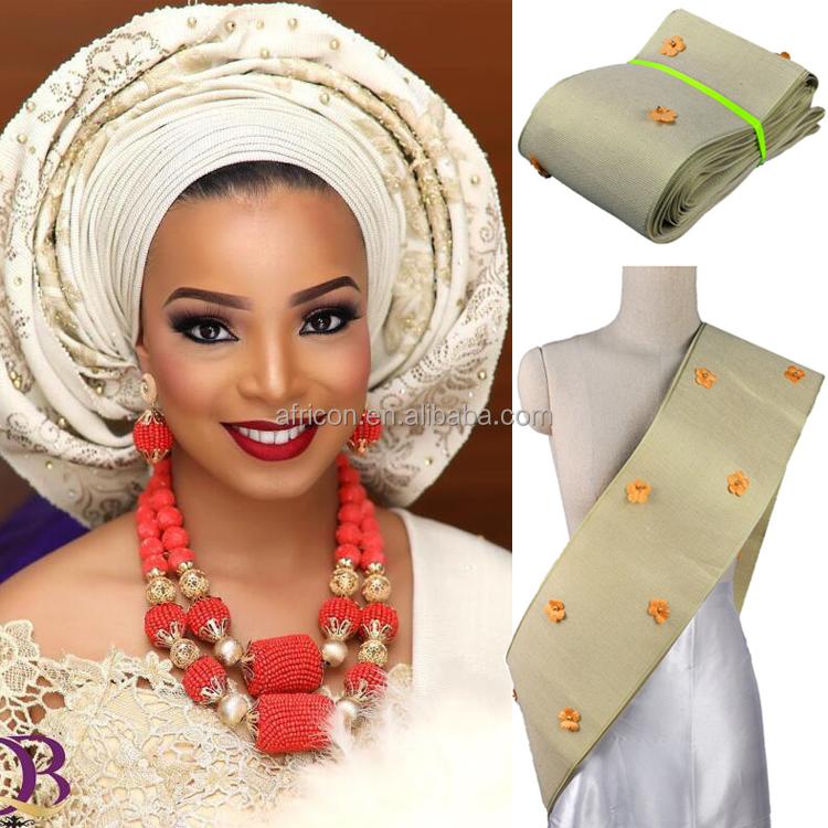 AS012 Queency Light Gold Gele Headtie Wrapper African Beaded Aso Oke Head  Tie for Women with Beaded Flowers e0b13d42b2a