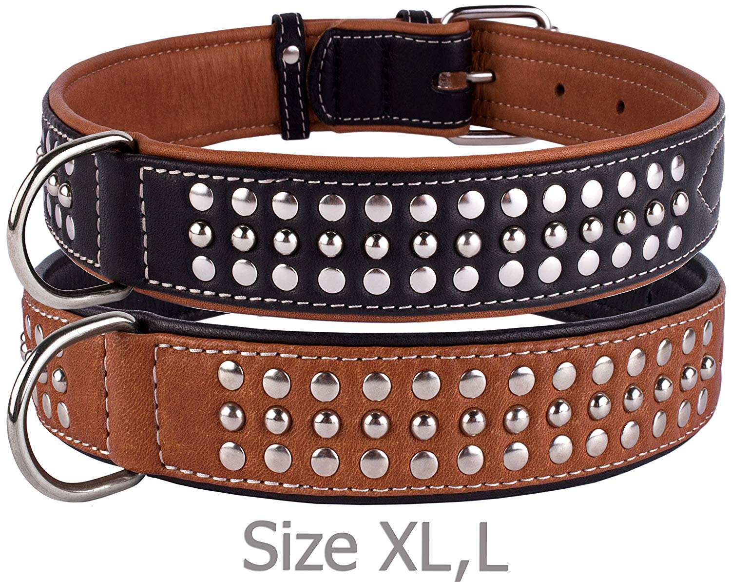 CollarDirect Handmade Studded Dog Collar, Genuine Leather Collar for Dogs, Soft Padded Leather Puppy Collar Brown Black Small Medium