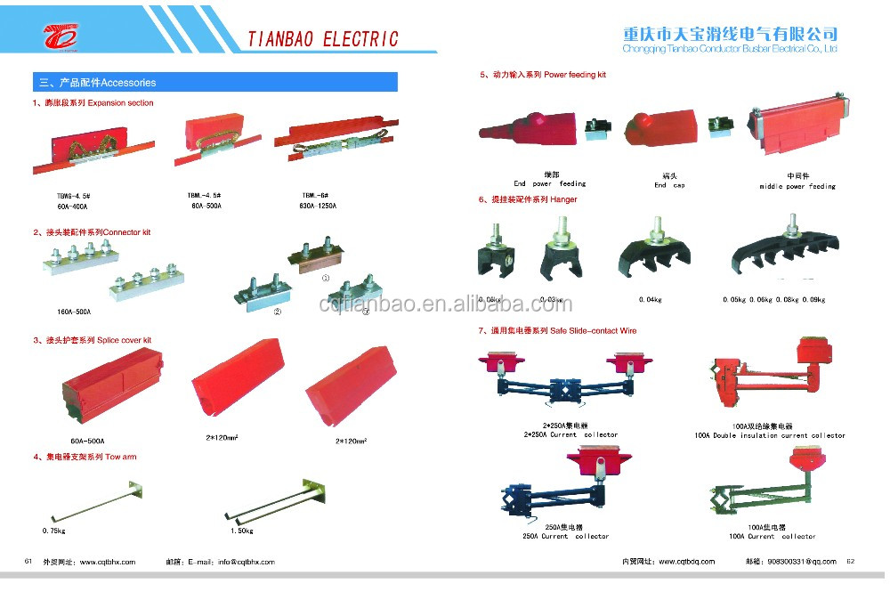 galvanzied steel conductor pvc busbar conductor bar