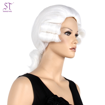 Fantasywig Wholesale 17 quot  Unisex Adults White Curly Judge Barrister  Lawyer Costume Wig For Women And 647f1fd6cce7