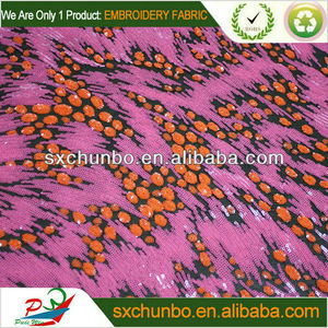 saffron yellow and rose sequins embroidery fabric for fashion garment