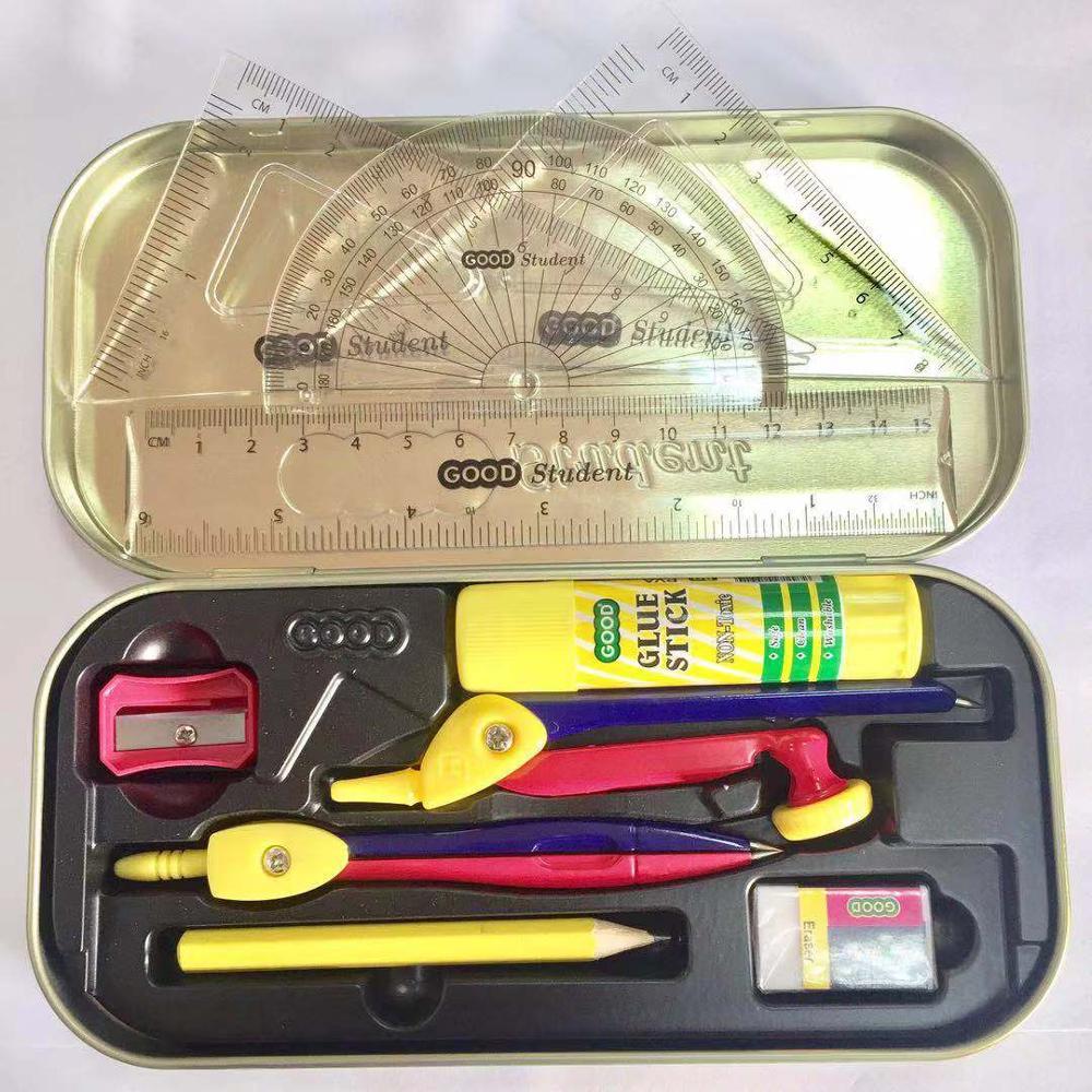 Geometry box, math set, metal math set with stick
