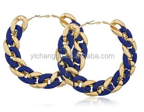 Goldtone Metal with Navy Blue Plastic 3.5 Inches Chain Link Hoop Earrings