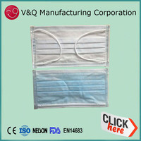 Non woven anti Mers 3-layer disposable plain plastic face mask
