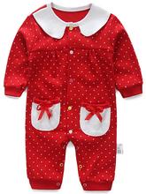 Romper do bebê da Longo-luva pijamas do bebê primeiro ano de aniversário crianças roupas roupas de bebê da menina do algodão arco-nó do bebê macacões meninas vestir