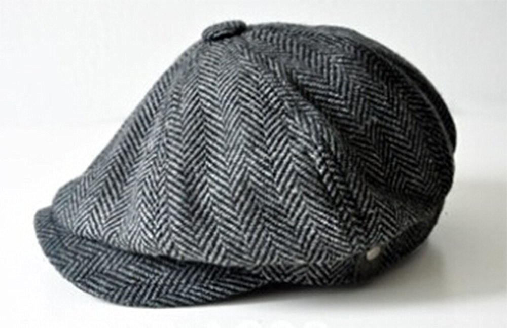 bfe4b0a0991 Get Quotations · HERRINGBONE TWEED Cap Men Wool Ivy Hat Golf Driving Flat  Cabbie Octagonal cap Hollywood star beret