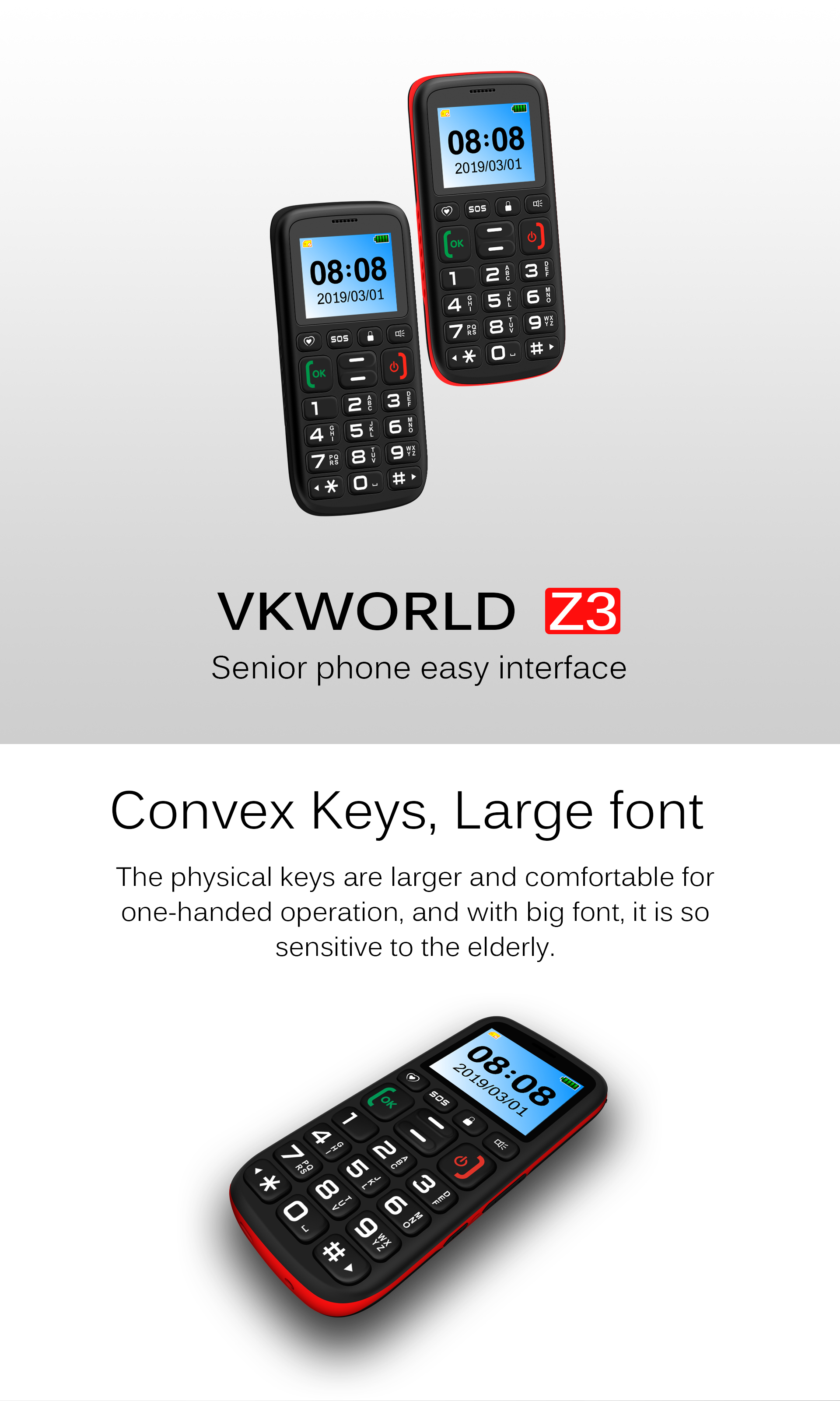 VKWORLD Z3 Cheap India Feature 2G  Mobile Phone The Old's Phone 1.77 inch FM Cellphone no camera China Manufactory