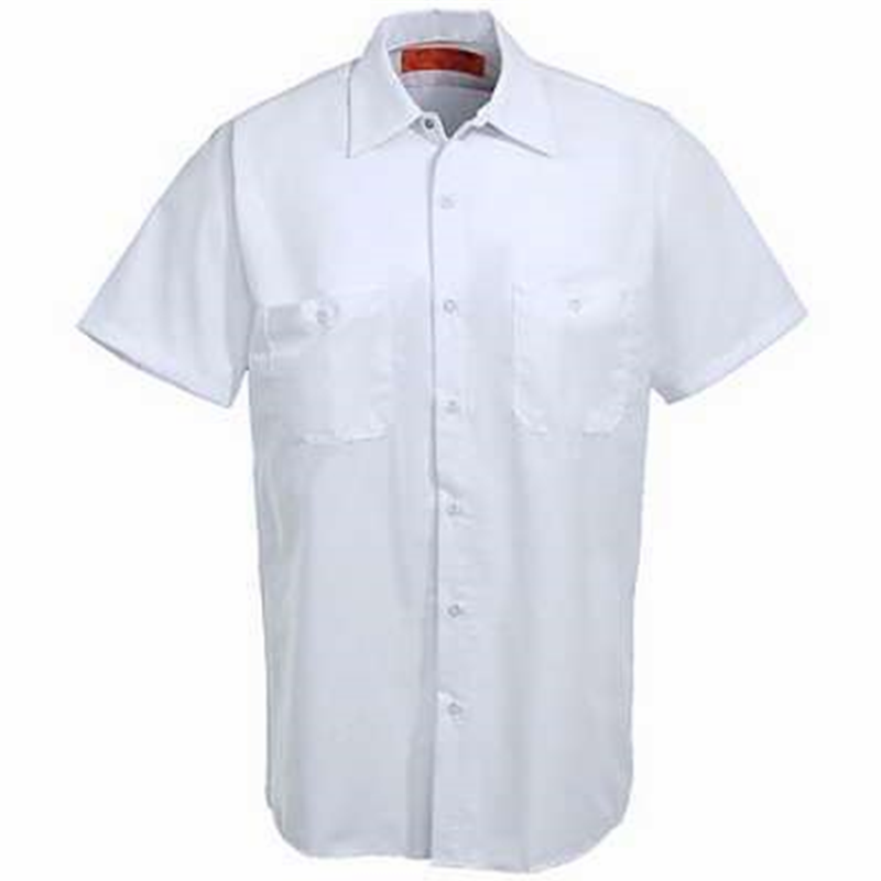 short sleeve style white color custom high quality wholesale mens cotton work shirt uniform