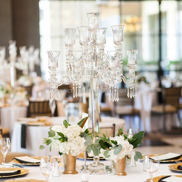 Cheap Tall 9 Arms Antique Wedding Crystal Candelabra Candlesticks Table  Centerpieces