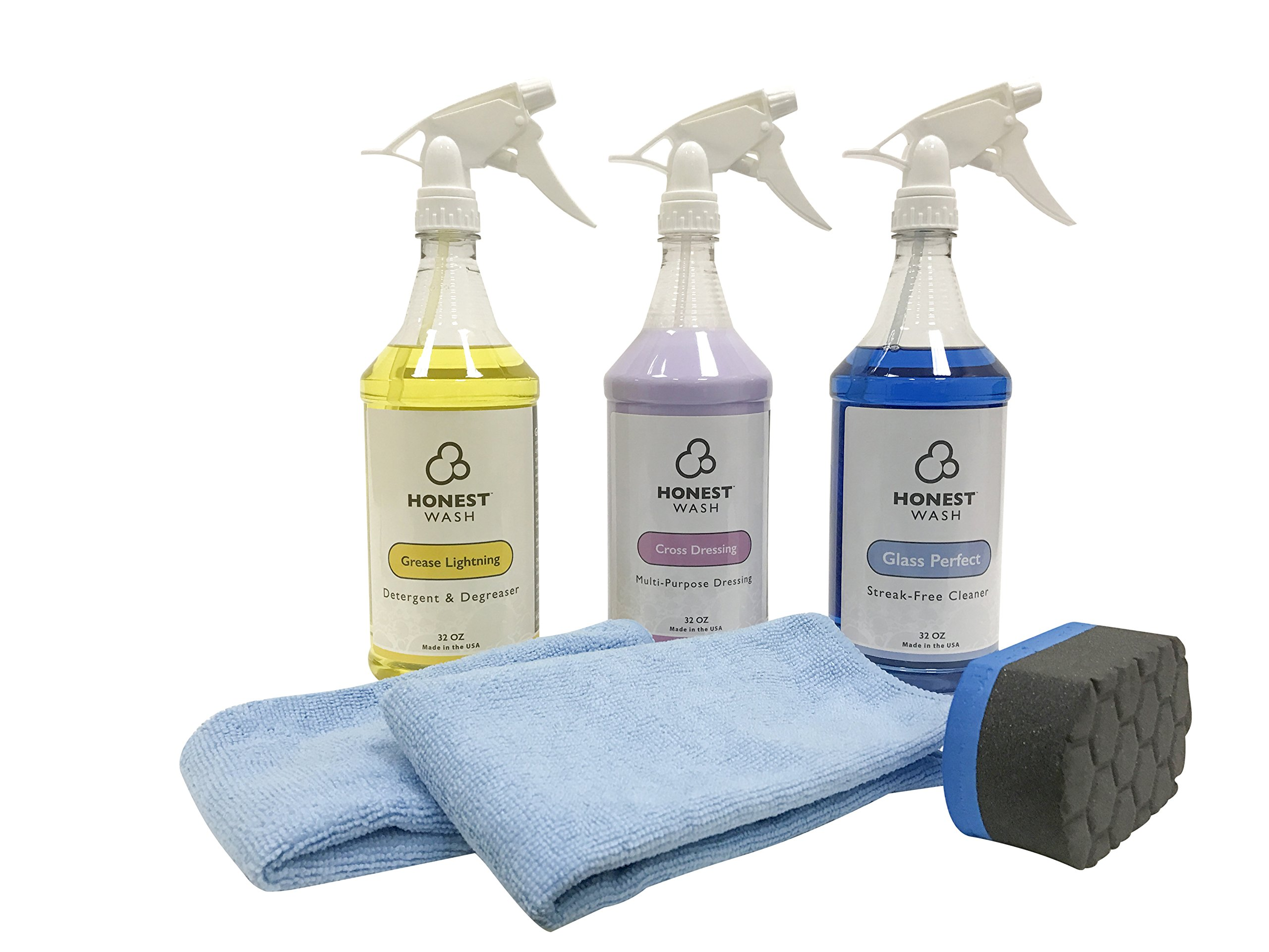 Honest Wash Interior Cleaning Kit - Everything to Clean the Interior of your Car, Truck, or SUV - Includes Glass Cleaner, Fabric Cleaner, Shine & Protectant for Panels, Microfiber Towels, & Applicator