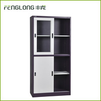 Office furniture steel cupboard cabinet sliding doors with glass