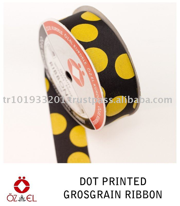 Dot Printed Grosgrain Ribbon