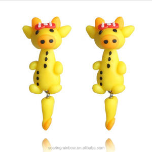 New Soft Clay Animal Earrings Jewelry Cute Yellow Bowknot Cow Stud Earrings Lovely Romantic Jewelry for Woman