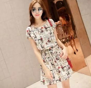 da67352780751 new design Summer korean style slim cotton floral print short sleeve dress