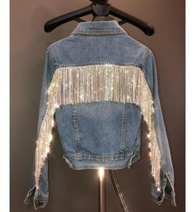 Luxury women fashion cool Casual Short blue silver bling Rhinestone crystals beading tassels women punk party denim jacket coat