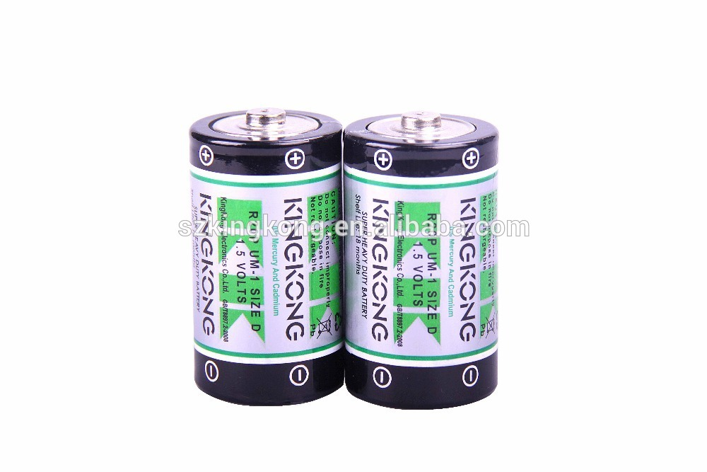 High capacity 1.5 v R20P d size not charged carbon zinc battery