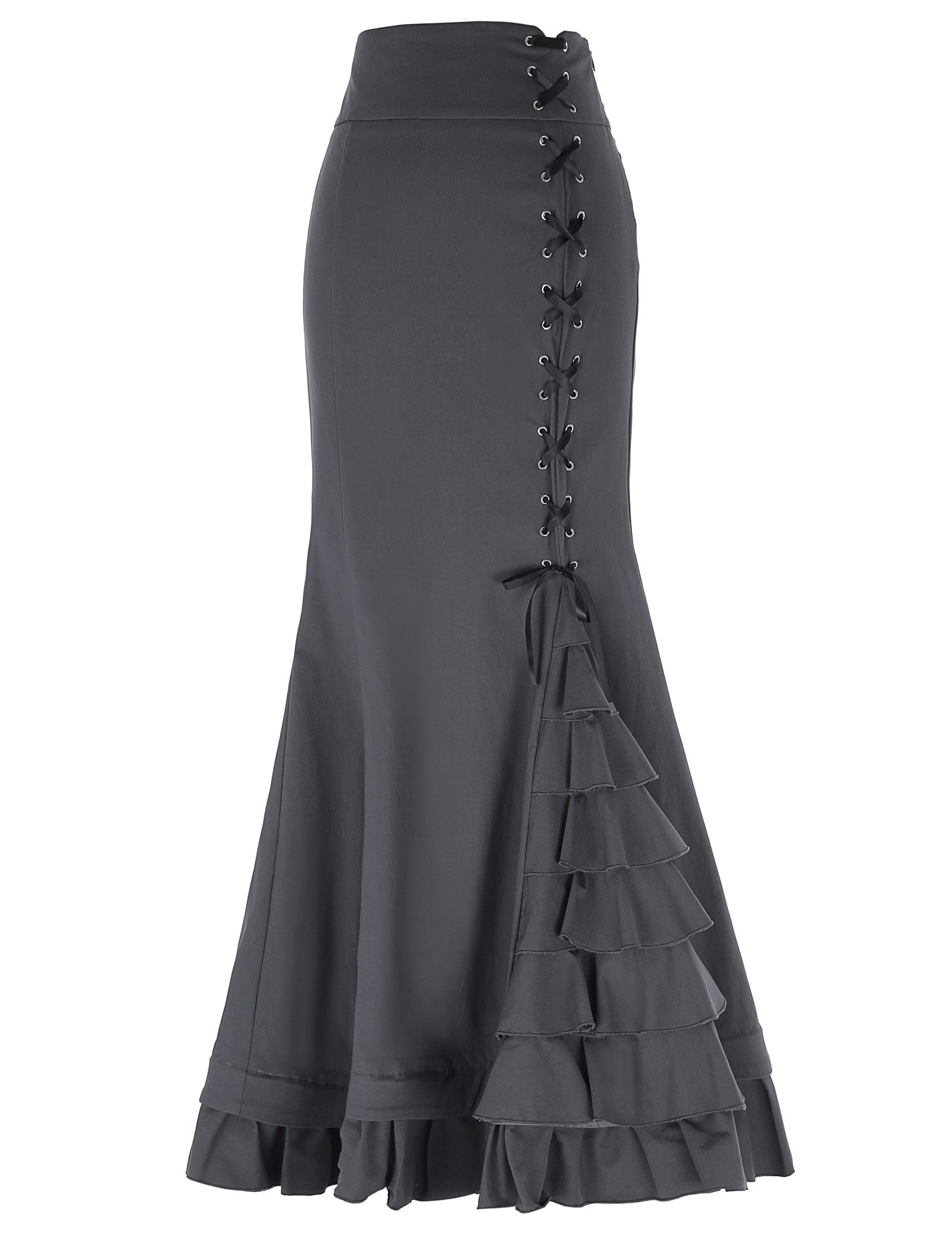 4212b1f469 Get Quotations · Belle Poque Women's Victorian Steampunk High Stretchy  Ruffled Fishtail Mermaid Skirt BP203
