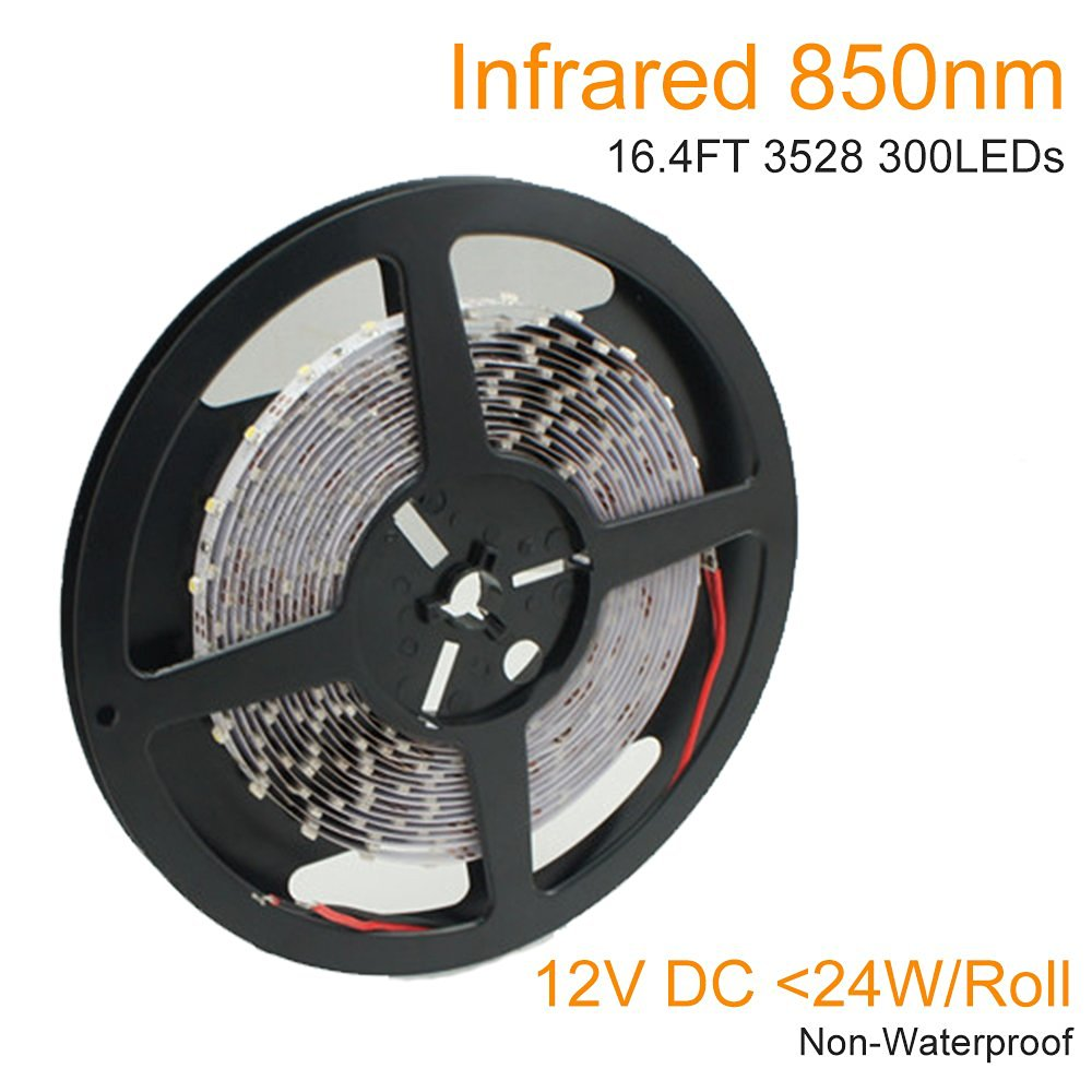 LightingWill DC12V 5M/16.4ft 24W SMD3528 300LEDs InfraRed 850nm Signle Chip 8mm Wide Flexible LED Strips 60LEDs/M 4.8W/M Non-waterproof for Multitouch Screen, Night Light Application IR850NM3528X300N