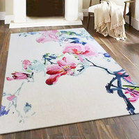 Chinese Traditional Style Flower Design Handmade Tufted New Zealand Wool Carpet Tile and Rug