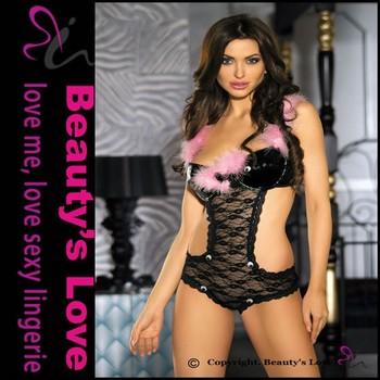 Beautys Love Sexy See Through Teddy Lingerie Erotic Women Teddy Lingerie With Red Velvet