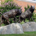 famous bronze sculpture artists metal craft bronze life size wolf sculpture for sale