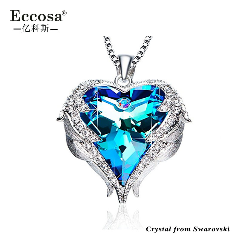 Heart Ocean Necklace Love Heart Pendant Necklaces For Women With Crystal From Swarovski