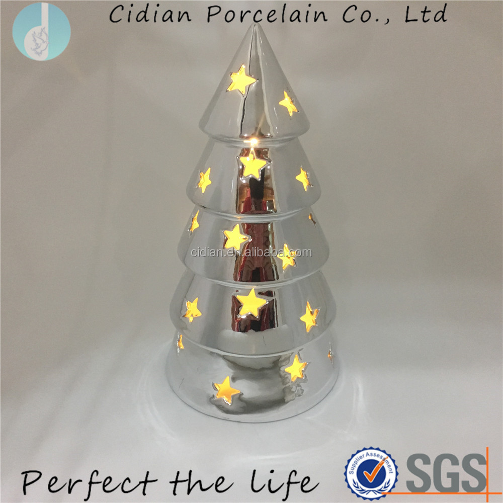 Silver Plated Ceramic AC lighted Christmas Tree for Home Decor