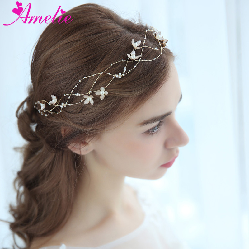 Baby Shower Headbands Pearl Charm Centered Floral Bridal Hair Vine Women Headpiece Prom Party Dress Hair Accessories Jewelry