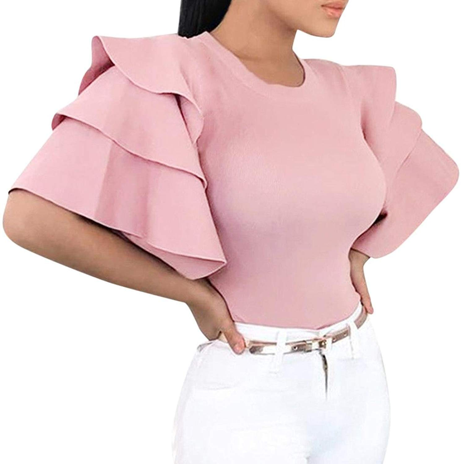 a665bc4a4e1879 Get Quotations · Minisoya Women Casual Ruffle Flare Sleeve Blouse Casual  Evening Party T-Shirt Solid Slim Dressy