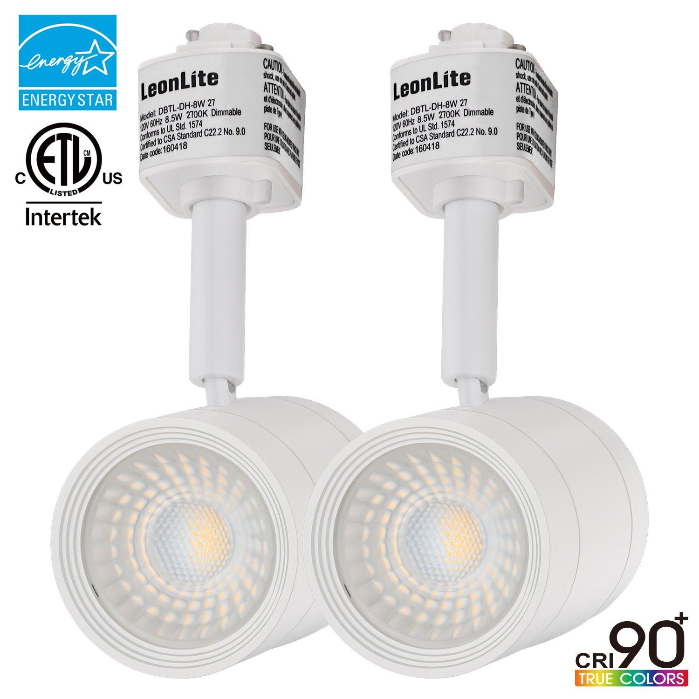 LEONLITE 2 PACK 8.5W(50W Equiv.) Integrated CRI90+ LED Track Light Head, Dimmable 38° Spotlight Track Light, 500lm ENERGY STAR ETL-Listed for Wall Art Exhibition Retail Lighting, 2700K Soft White