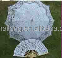 victorian style white lace parasol with fan set