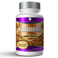 Flaxseed Oil 1000mg Capsules Dietary Supplement Volcanat Health Premium Round Bottle
