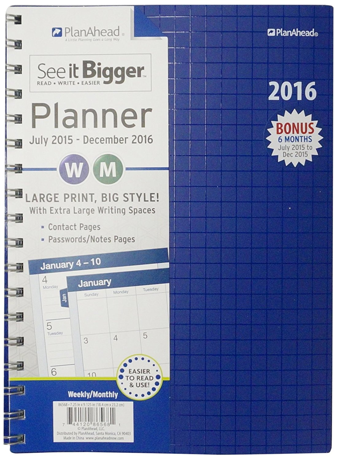 PlanAhead See It Bigger 18 Month Planner, July 2015 -December 2016, Assorted design colors (86568)