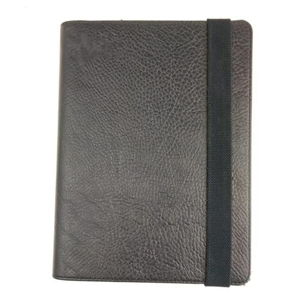 Wide elastic closure A4 leather presentation document folder