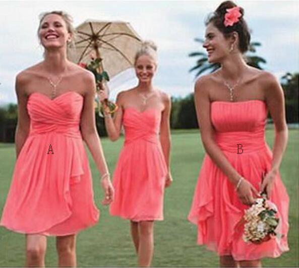Coral Wedding Gowns: Fancy Two Style A And B Short Coral Bridesmaid Dresses
