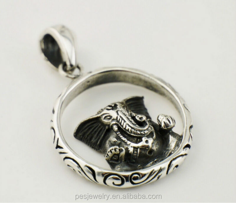 Charm antique mens Om elelphant pendant necklace(PES1-146)