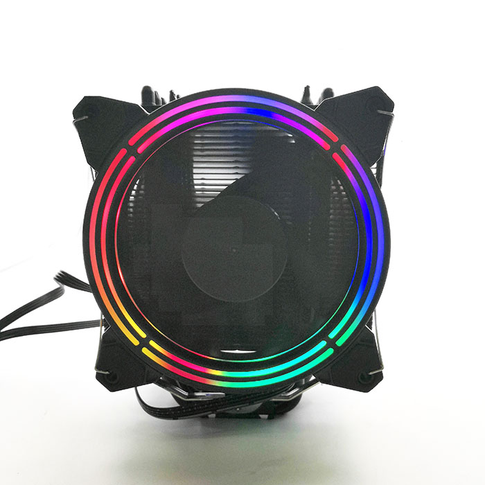 High end Double 4 pin RGB Rainbow Cooling fan 6 heatpipe cpu cooler