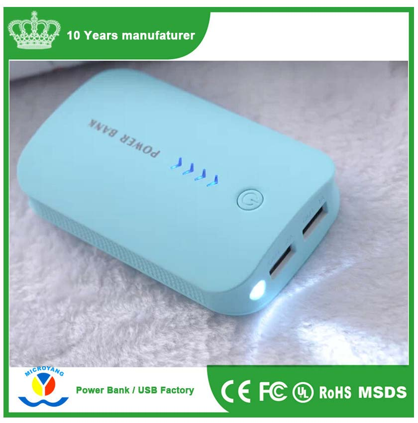 3 pcs 18650 battery Light blue rohs power bank 6600mah with 2 output