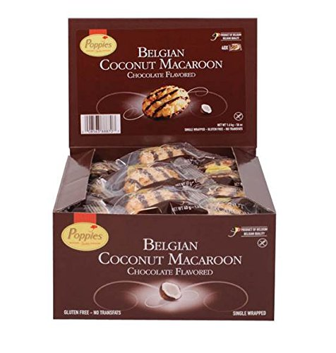 Poppies Belgium Coconut Macaroon Single Serve Cookies | 40CT Box | Non-GMO, Gluten Free