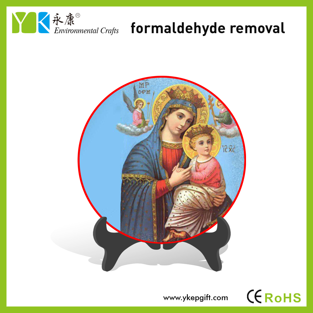 Plate decorative Virgin Mary and Baby Jesus statue religious crafts for living room